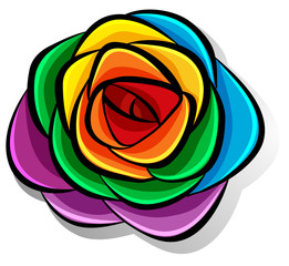 Rainbow flower on white