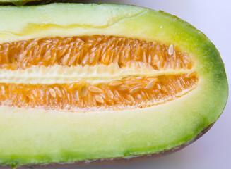 half of fresh green melon