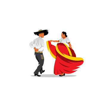 Mexico Dancers Participates at the Cinco De Mayo festival. Vector Illustration