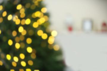 Christmas lights on Christmas tree of abstract background
