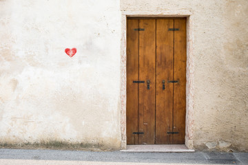 Door with heart painted