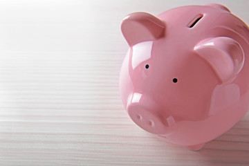 Pig moneybox on light background