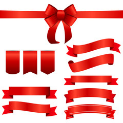 Red Ribbon and Bow Set. Vector illustration