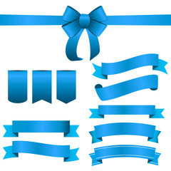 Blue Ribbon and Bow Set. Vector illustration