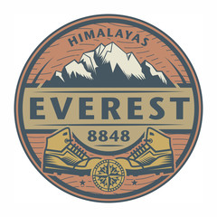 Stamp or emblem with text Everest, Himalayas