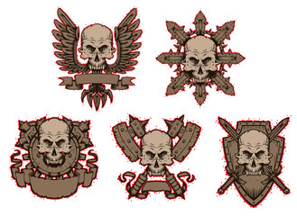 Vector Emblems skulls set. Cartoon image of five gray emblems skulls decorated with wings, swords, axes, knives and banners like engraving on a light background.