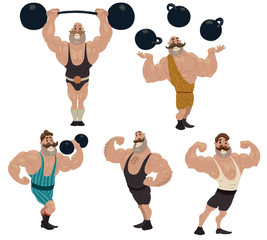 Vector Retro athletes set. Cartoon image of five retro athletes in sports leotards in various poses with black dumbbells on a light background.