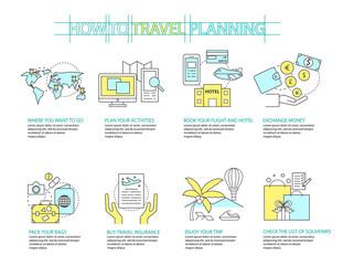 Set of Flat line icon & infographic design concept Planning trav