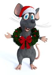 Cartoon mouse wearing Christmas wreath.