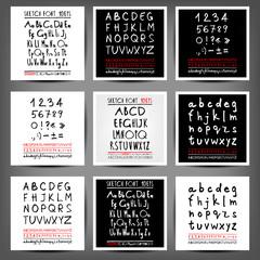 Set of vector handwritten English alphabets