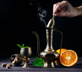 Moroccan tea with mint and oranges