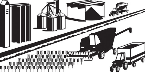 Harvesting and storage of grain cereals - vector illustration