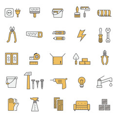 Home repair and construction outline gray and yellow vector icons set. Modern minimalistic design.