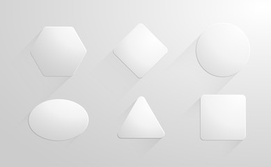 Abstract geometric shapes white papers, label, stickers set