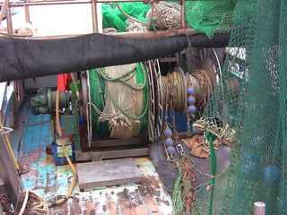 La Spezia, Italy - July 29, 2014: tangle of nets in fishing vessel