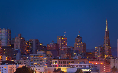 Wall Mural - Night San Francisco panorama skyline view