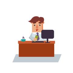 Business Man Got Salary Cartoon Character Vector Illustration