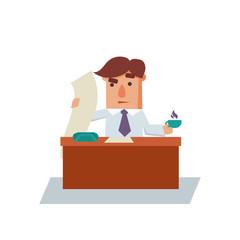 Serious Business Man Cartoon Character Vector Illustration