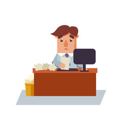 Business Man with a Paper Cartoon Character Vector