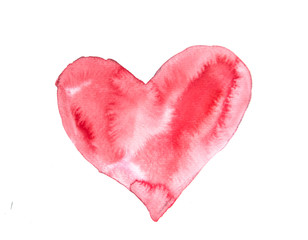 Red heart on white, watercolor painting