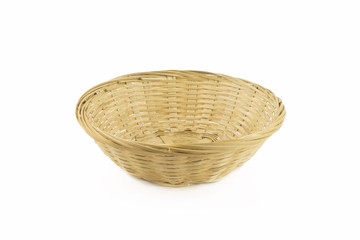 Empty basket on isolated white background