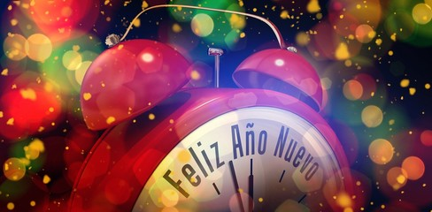 Composite image of feliz ano nuevo in red alarm clock