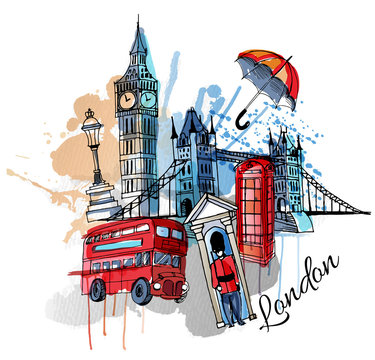 watercolor vector London background