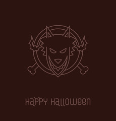 Vector image of round emblem with bats, bones and werewolf at the center in the outline style on a deep brown background. In the theme of Halloween.