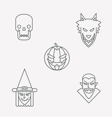 Vector Set of icons monsters for halloween in outline style. Set of Halloween icons monsters in the outline style: skull, werewolf, pumpkin, witch and a vampire on a white background.