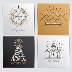 Merry Christmas Outline Greeting Cards