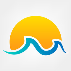 Wave and sun vector symbol