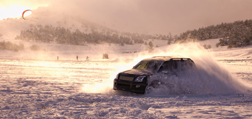 Snow holiday in the Crimea. Skid. Test Drive. Winter vacation in the Crimea