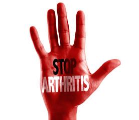 Stop Arthritis written on hand isolated on white background