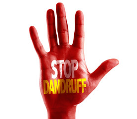 Stop Dandruff written on hand isolated on white background