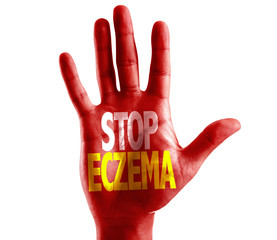 Stop Eczema written on hand isolated on white background