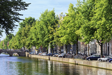 Green scenery in the historical Amsterdam canal belt, Netherlands.