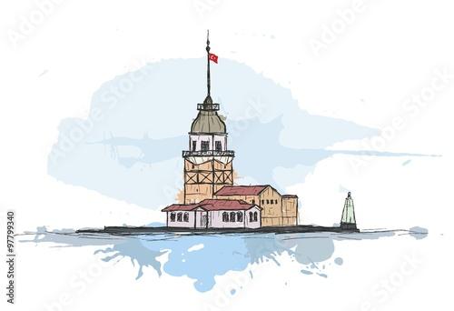 Renkli Sanatsal Kız Kulesi çizimi Stock Image And Royalty Free