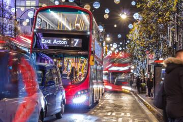 Foto op Aluminium Londen rode bus Christmas in London