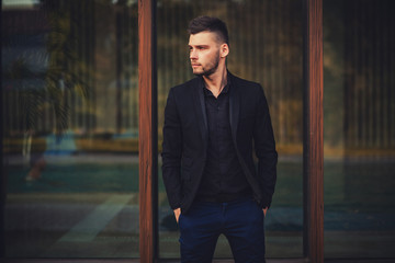 attractive young male model in suit