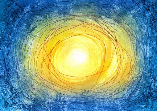 Licht Mittelpunkt Malerei mit digitaler Bearbeitung