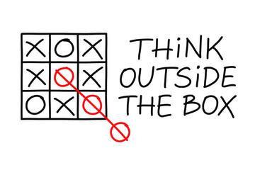 Think Outside The Box Tic Tac Toe Illustration