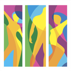 Man gym and woman of fitness. Abstract colorful illustration for pattern