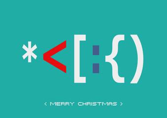 ASCII Art - Karte - Merry Christmas bunt