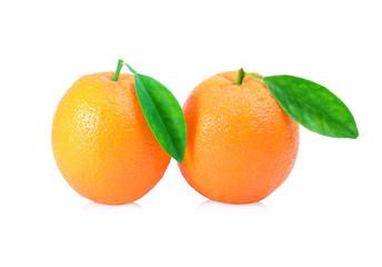 Fresh oranges fruit with leaf on white