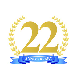 22 anniversary with blue ribbon and gold wreath