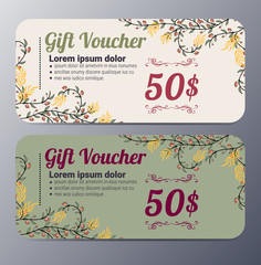 Gift voucher template with vintage  pattern