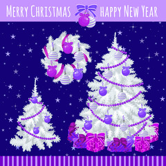 Poster with two white Christmas trees and wreath in a purple background