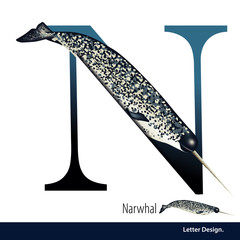 Vector illustration of Letter N is Narwhal alphabet. English abc