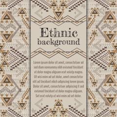 Vector background design. Ethnic tribal geometric pattern. Aztec ornamental style
