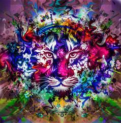 тигр на абстрактном фоне